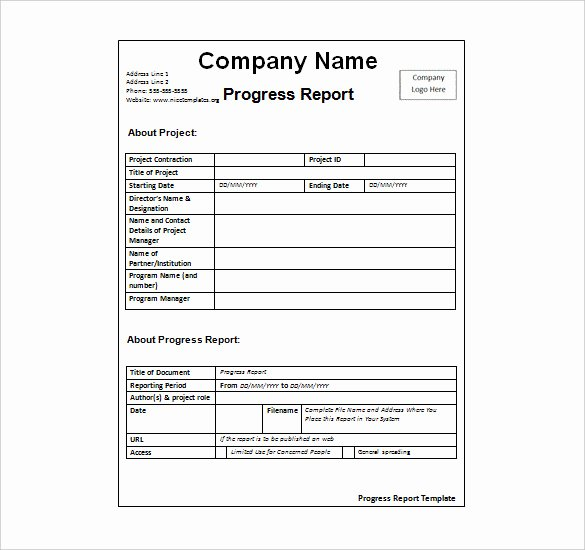 Business Progress Report Template Fresh Weekly Activity Report Template 30 Free Word Excel