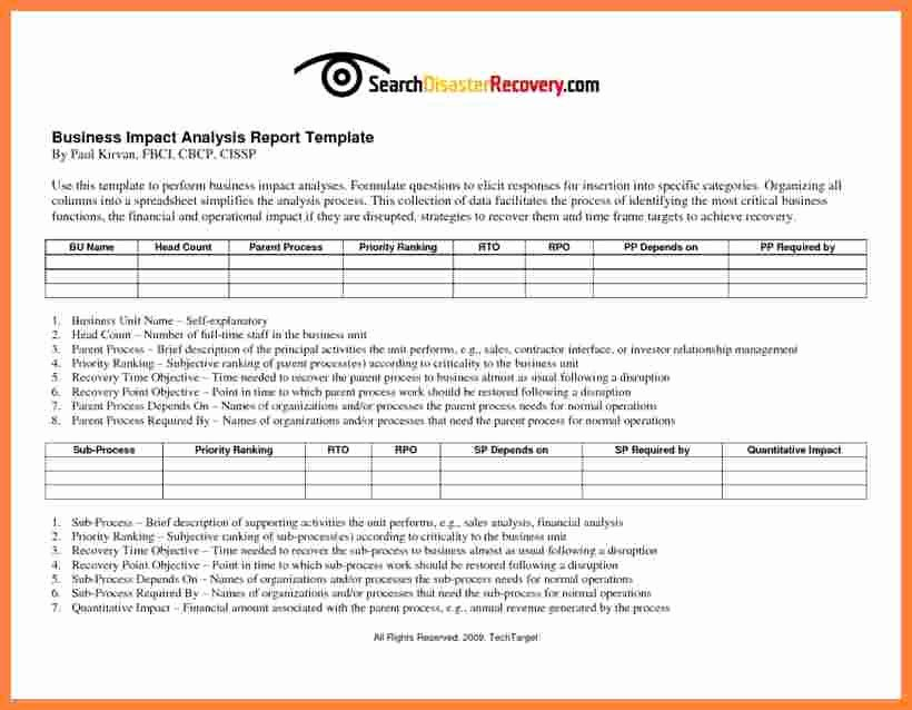 Business Progress Report Template Luxury 7 Business Impact Analysis Report Template