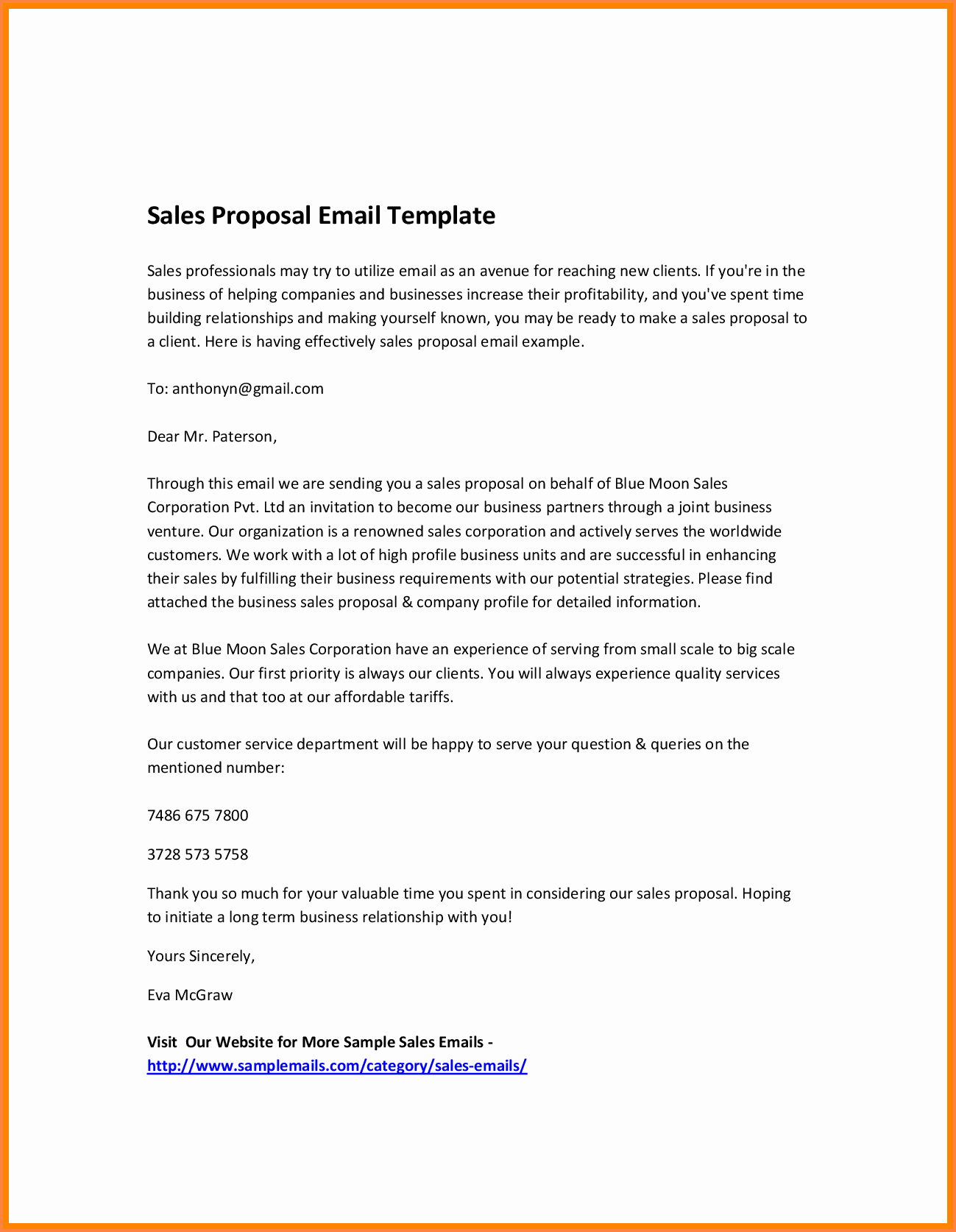 Business Proposal Email Template Luxury 7 Email for Business Proposal with Example