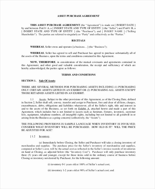 Business Purchase Agreement Template Free Beautiful asset Purchase Agreement 7 Free Word Pdf Documents