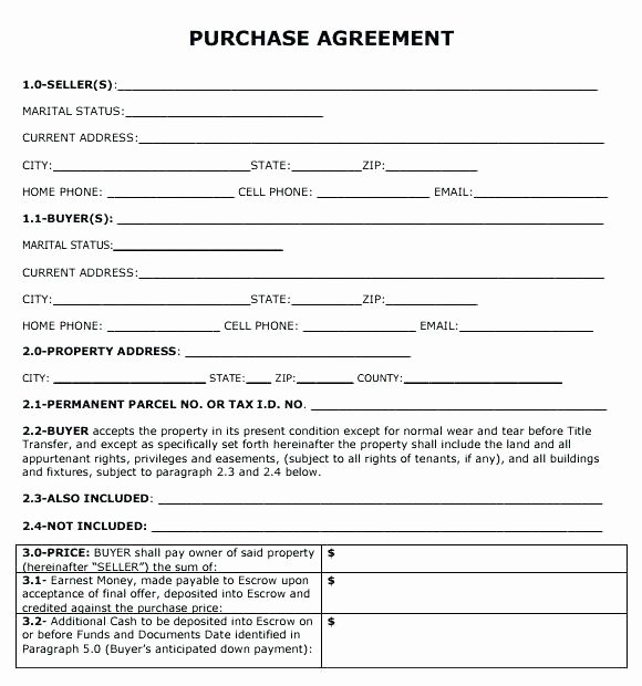 Business Purchase Agreement Template Free Beautiful Simple Land Contract form Fresh Free Lease Agreement