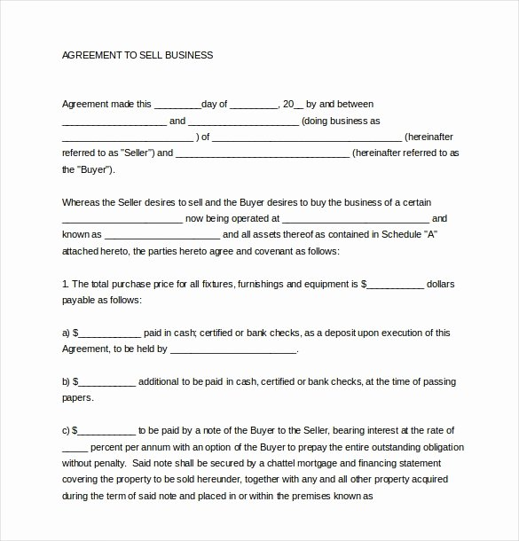Business Purchase Agreement Template Free Elegant Small Business Sale Agreement Template