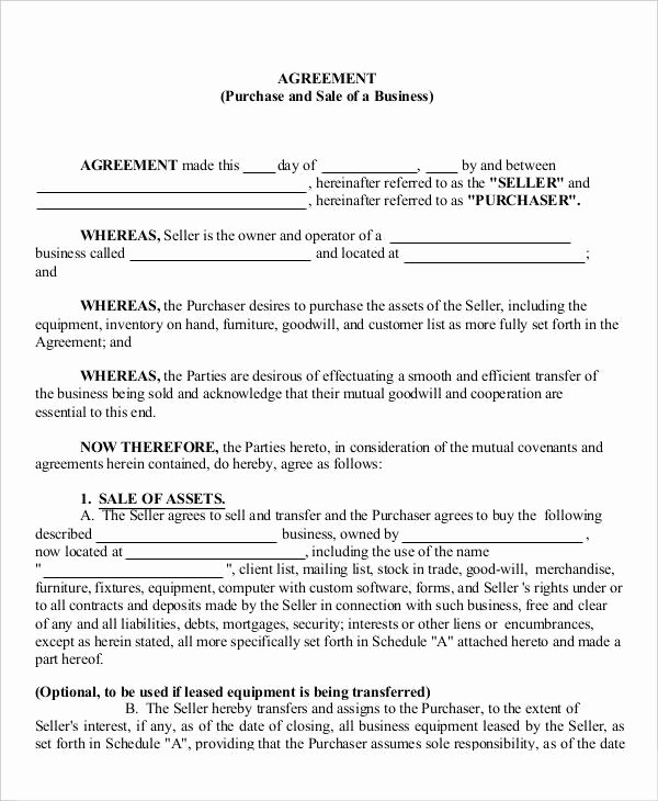 Business Purchase Agreement Template Free Inspirational 13 Business Agreement Templates Word Pages