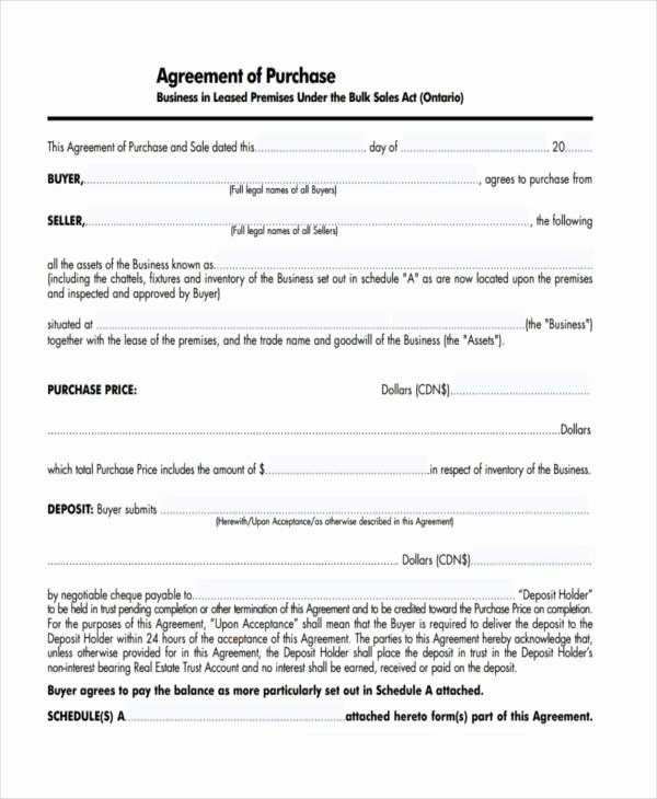 Business Purchase Agreement Template Free Unique 7 Business Purchase Agreement form Samples Free Sample