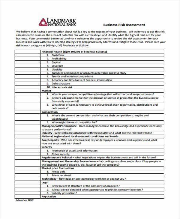 Business Risk assessment Template New 30 Risk assessment Samples