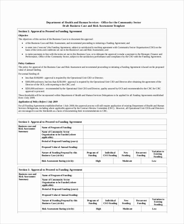 Business Risk assessment Template New 8 Sample Business Risk assessments