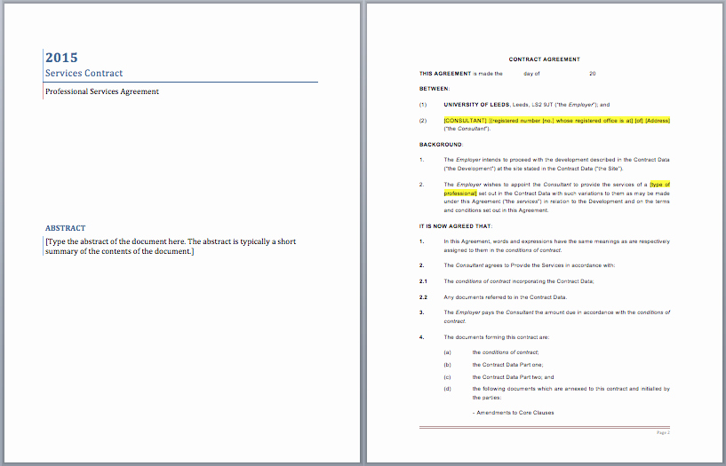 Business Service Contract Template Best Of Professional Services Contract Template – Microsoft Word