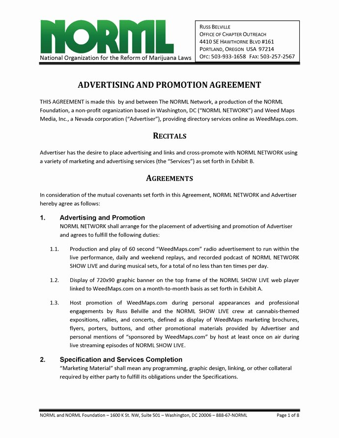Business Service Contract Template Lovely Advertising and Promotion Agreement norml Network and