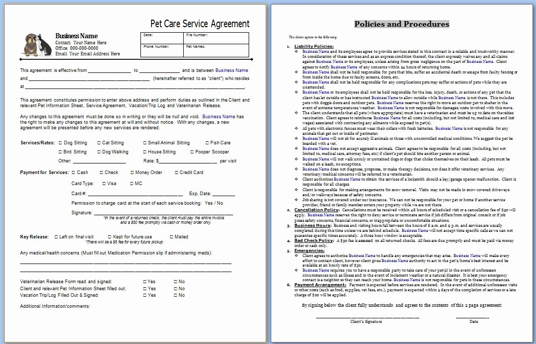 Business Service Contract Template New Essential Pet Sitting Business forms Home