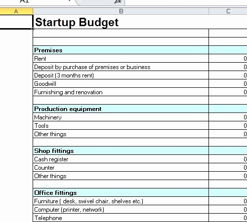 Business Start Up Costs Template Beautiful Startup Bud Template Excel