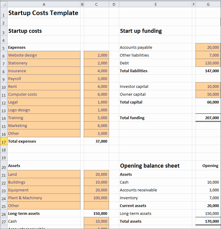 Business Start Up Costs Template Fresh Start Up Costs Calculator Template