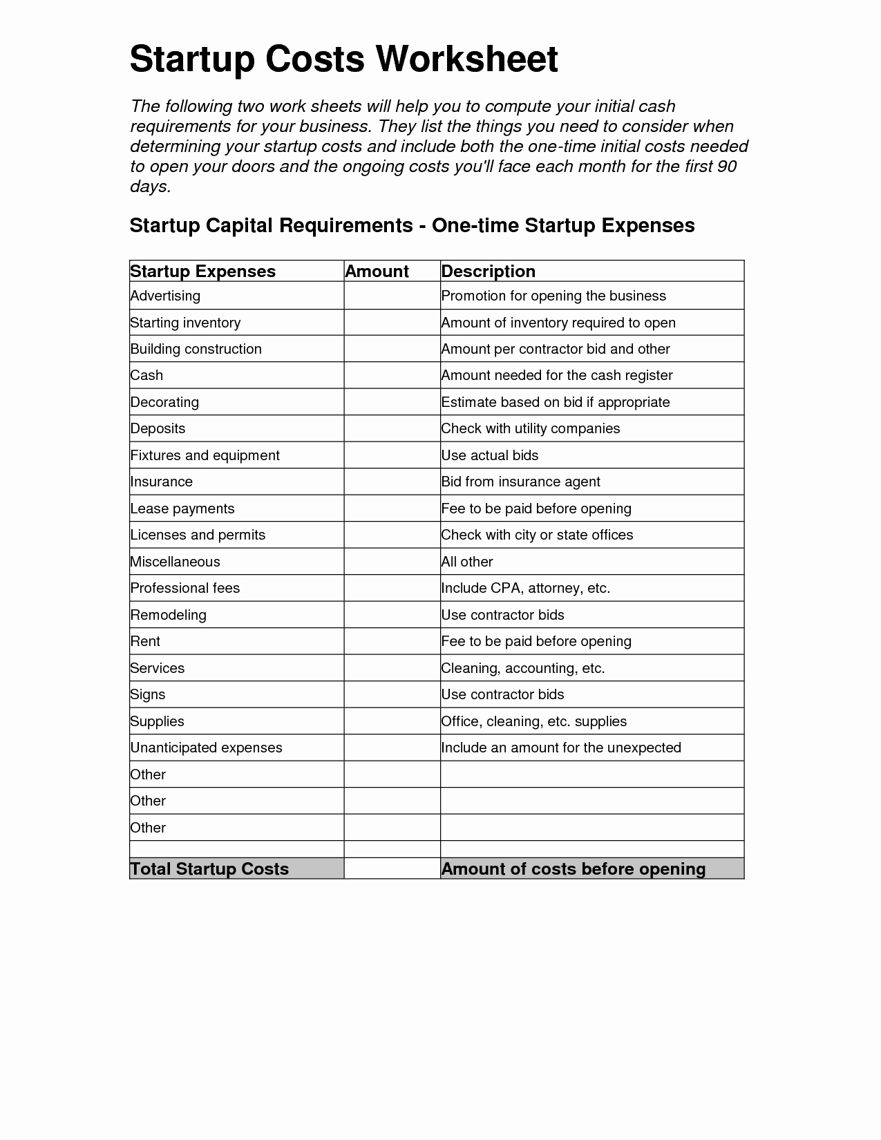 Business Start Up Costs Template Luxury 10 Best Of Starting A Business Worksheet Business