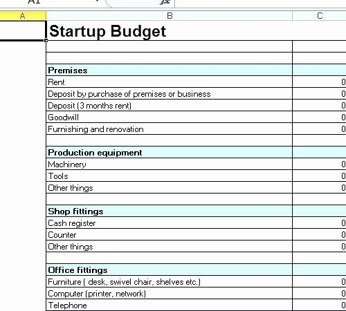 Business Start Up Costs Template Unique Startup Bud Template Systematic Business Spreadsheet