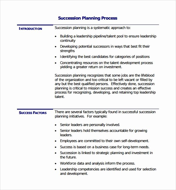 Business Succession Plan Template New 10 Succession Planning Templates