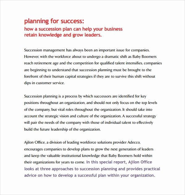 Business Succession Planning Template New 10 Succession Planning Templates
