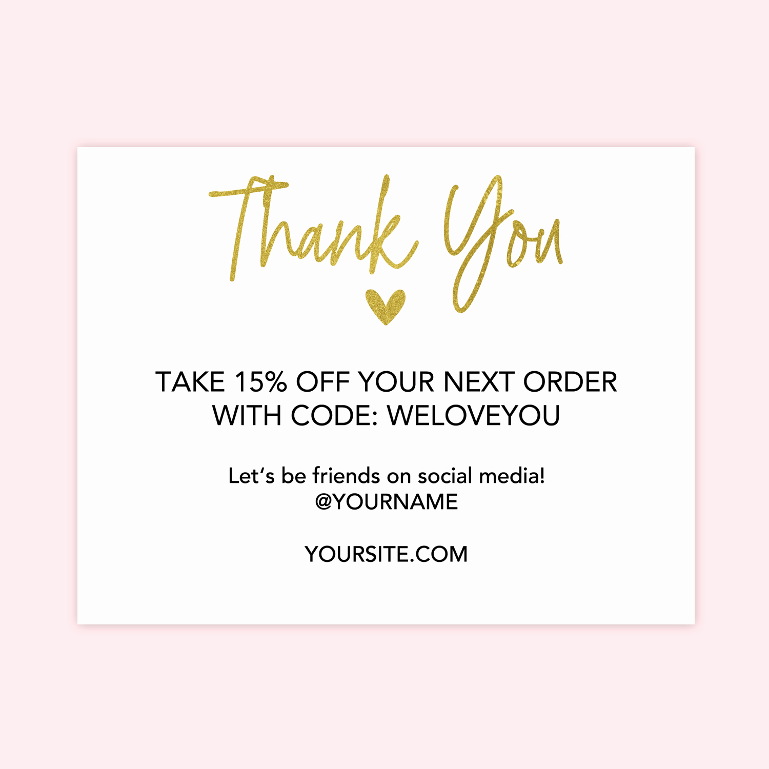 Business Thank You Card Template Fresh Gold Heart Printable Thank You Cards for Business Chicfetti