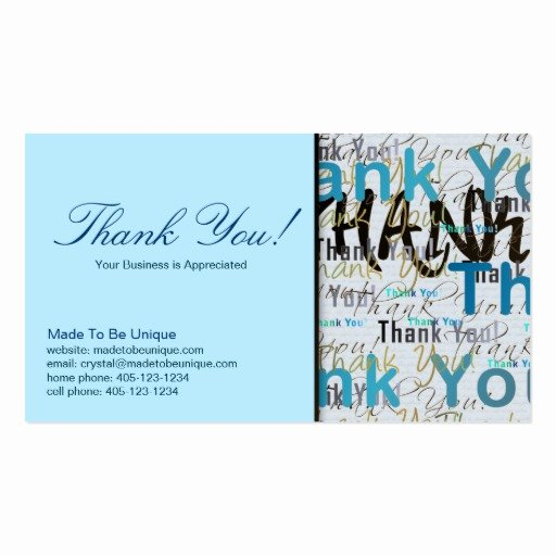 Business Thank You Card Template Lovely Business Card Template Thank You