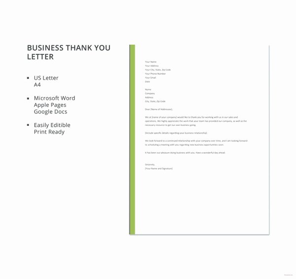 Business Thank You Note Template Fresh 8 Business Thank You Notes Free Sample Example format