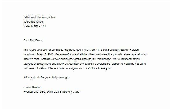 Business Thank You Note Template Inspirational Business Thank You Letter – 11 Free Sample Example