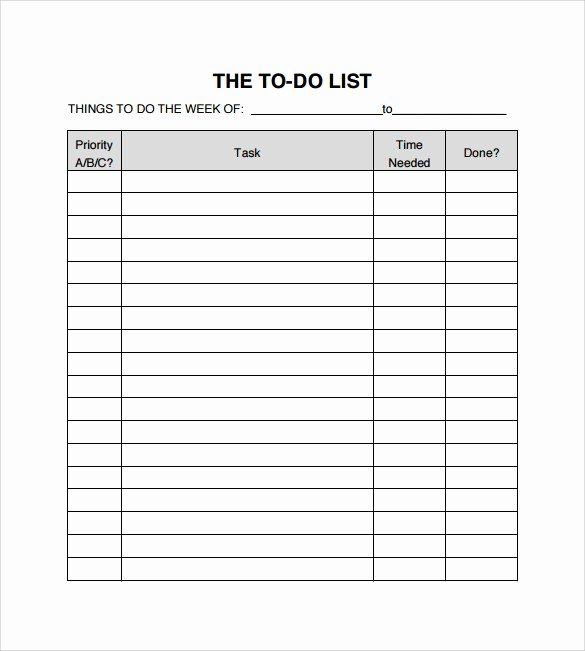 Business to Do List Template Fresh Sample to Do Checklist 9 Documents In Pdf Word