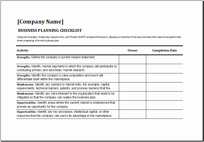 Business to Do List Template Unique Ms Excel Business Planning Checklist Template