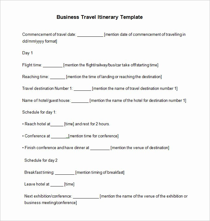 Business Travel Itinerary Template Fresh 32 Travel Itinerary Templates Doc Pdf