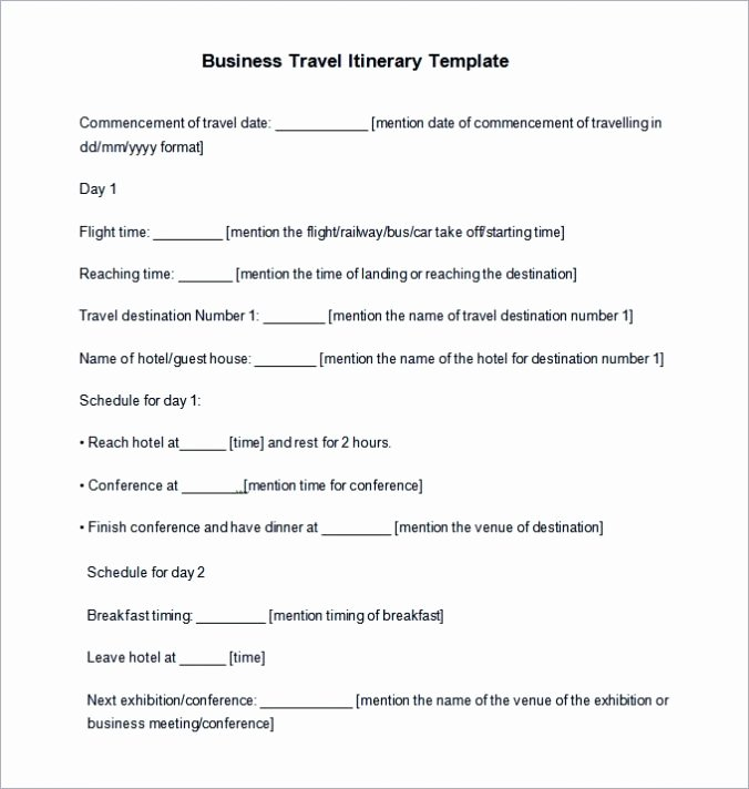 Business Travel Itinerary Template Fresh Free Trip & Business Travel Itinerary Template