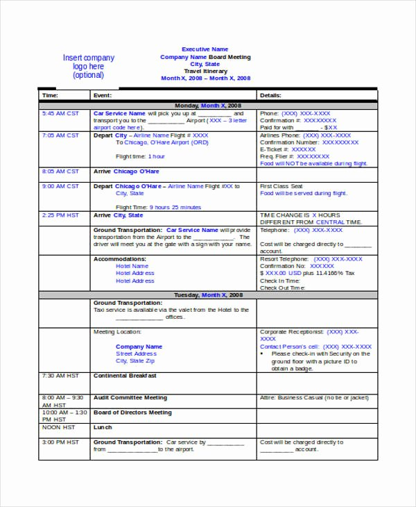 Business Travel Itinerary Template Inspirational 9 Travel Itinerary Templates Free Word Pdf format
