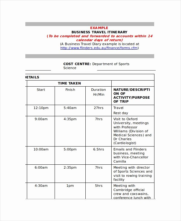 Business Travel Itinerary Template Luxury 9 Itinerary Templates Free Sample Example format