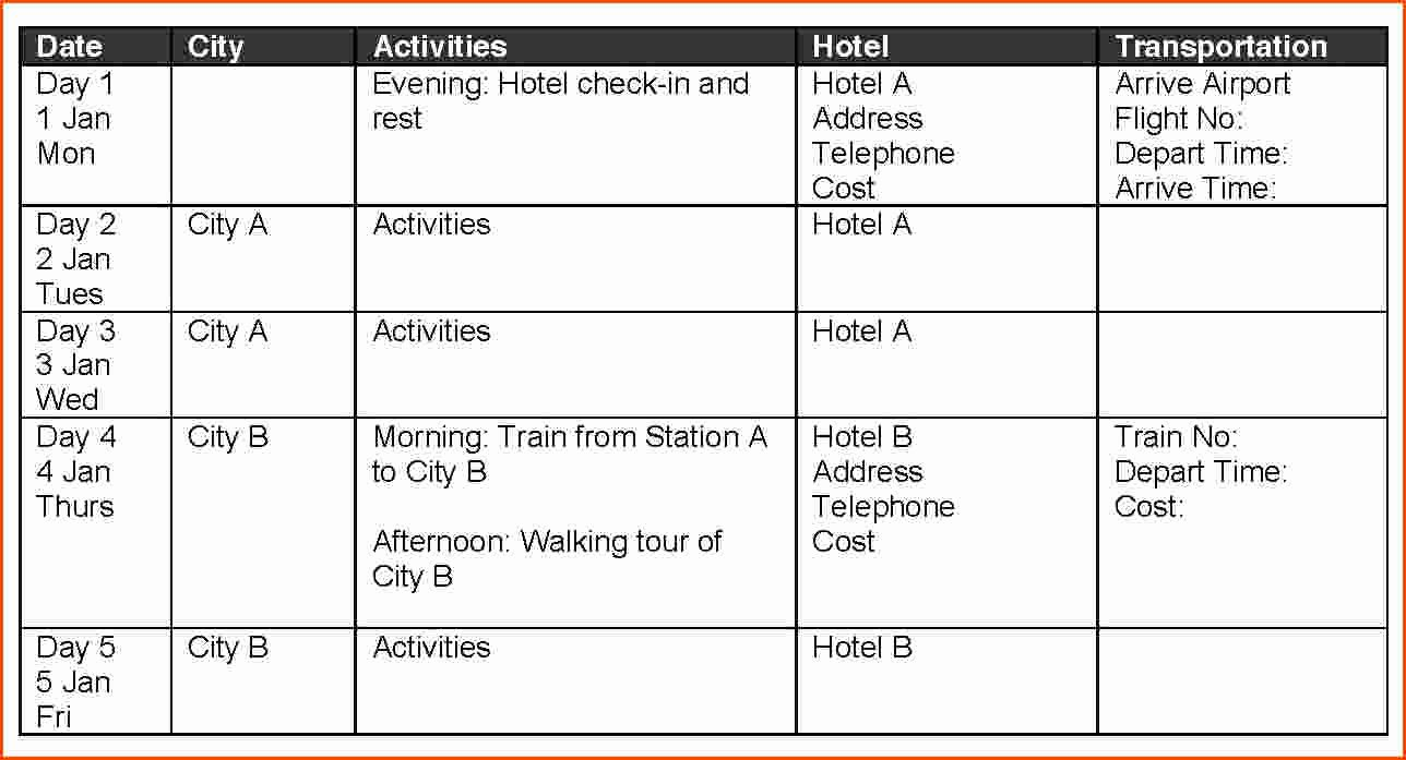 Business Travel Itinerary Template Luxury Template Travel Itinerary Template