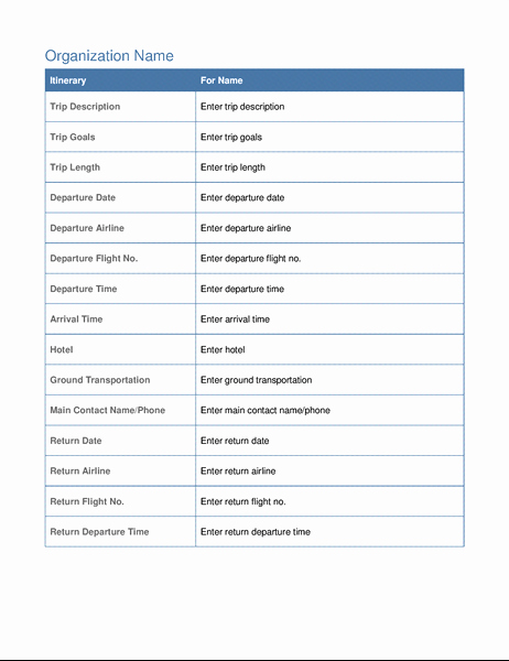 Business Travel Itinerary Template New Business Trip Itinerary with Meeting Schedule