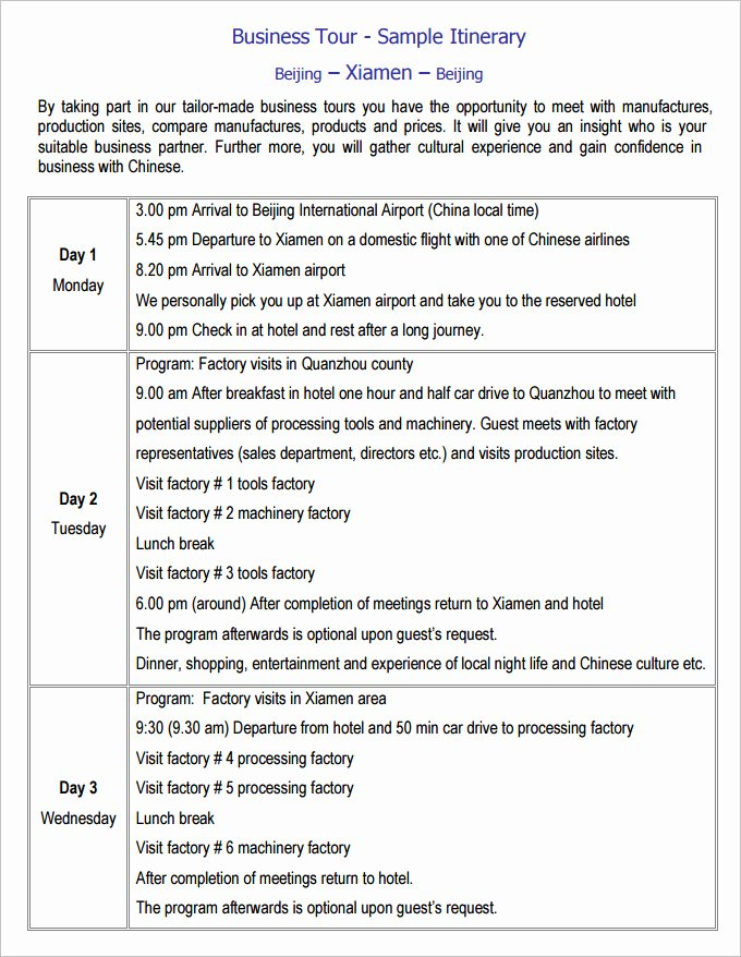 Business Travel Itinerary Template Unique 13 Business Travel Itinerary Template Word Excle Pdf