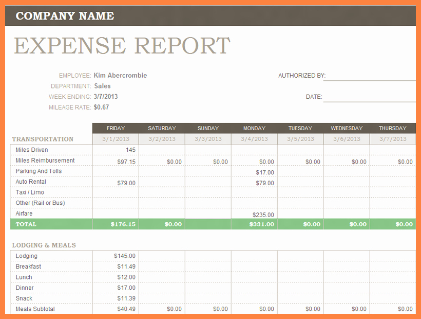 Business Trip Expenses Template Elegant 8 Business Travel Expense Report Template