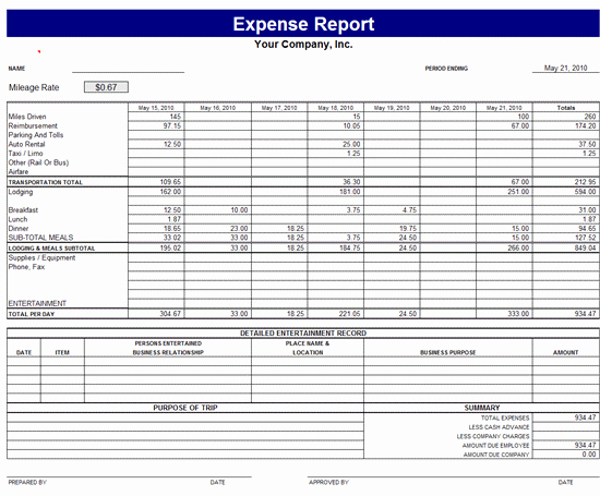 Business Trip Expenses Template New Monthly Expense Report Template