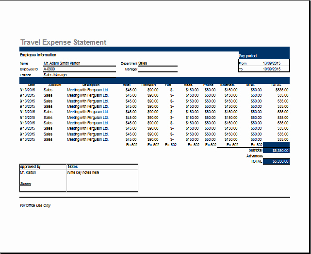 Business Trip Expenses Template New Ms Excel Travel Expense Report Template