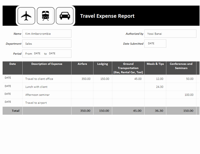 Business Trip Expenses Template New Travel Expense Report