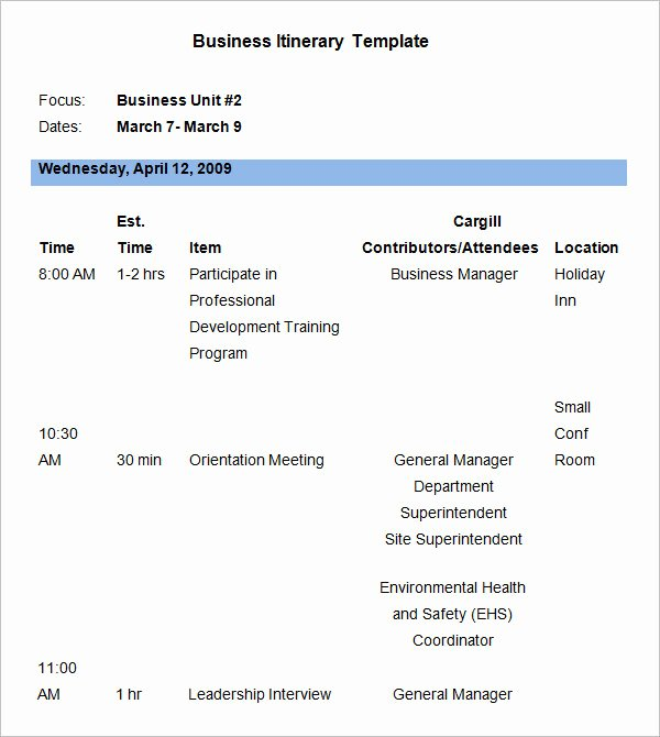 Business Trip Itinerary Template Awesome 9 Business Itinerary Template Doc Pdf Excel