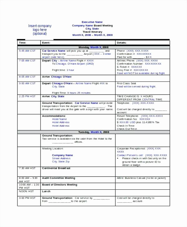 Business Trip Itinerary Template Awesome Great Itinerary Template Word S Travel Itinerary