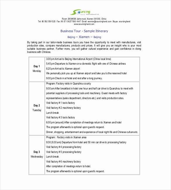Business Trip Itinerary Template Beautiful Itinerary Template – 15 Free Word Excel Pdf Documents