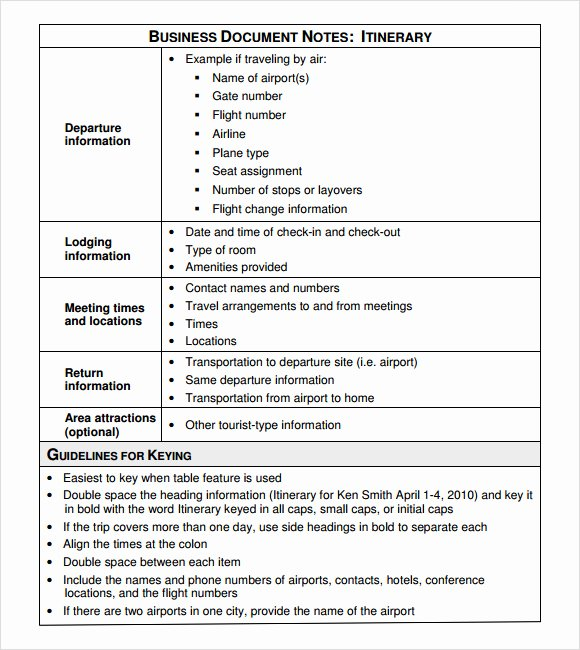 Business Trip Itinerary Template Best Of Business Itinerary Template 7 Download Free Documents