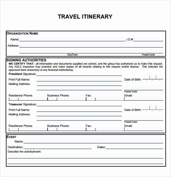 Business Trip Itinerary Template Inspirational 6 Sample Travel Itinerary Templates to Download