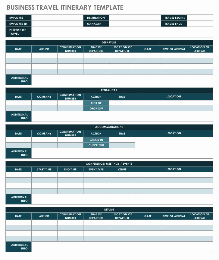 Business Trip Itinerary Template Inspirational Free Itinerary Templates