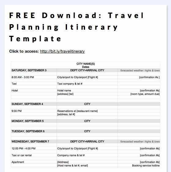 Business Trip Itinerary Template New Free Download Travel Planning Itinerary Template