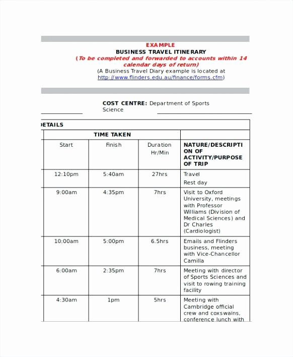Business Trip Itinerary Template New Itinerary Template Doc Travel Sample Document Trip