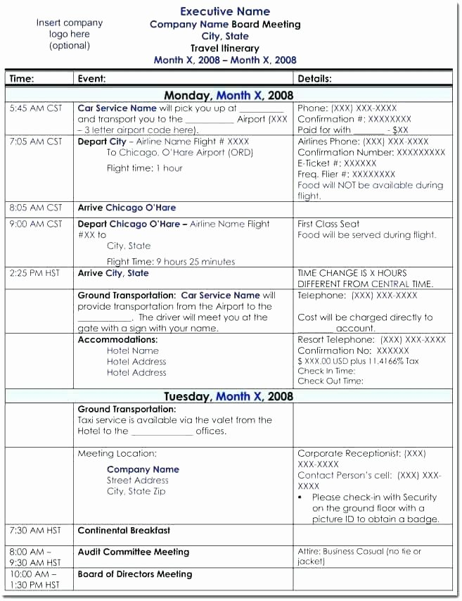 Business Trip Itinerary Template New Microsoft Travel Itinerary Template – Flybymedia