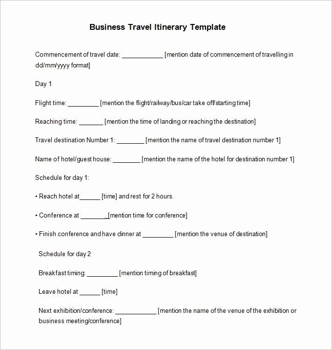 Business Trip Itinerary Template Unique Travel Itinerary Example 12 Free Word Pdf Documents