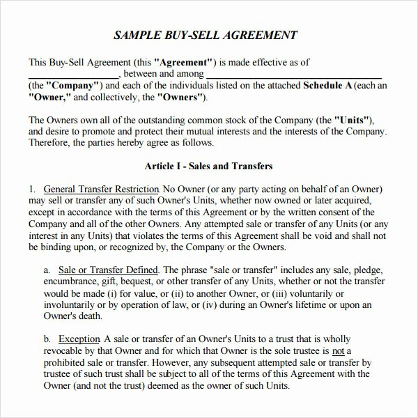 Buy Sell Agreement Llc Template Awesome 18 Sample Buy Sell Agreement Templates Word Pdf Pages