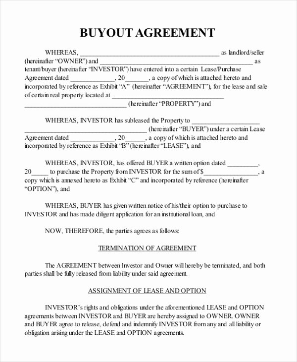 Buy Sell Agreement Llc Template Best Of Buyout Agreement