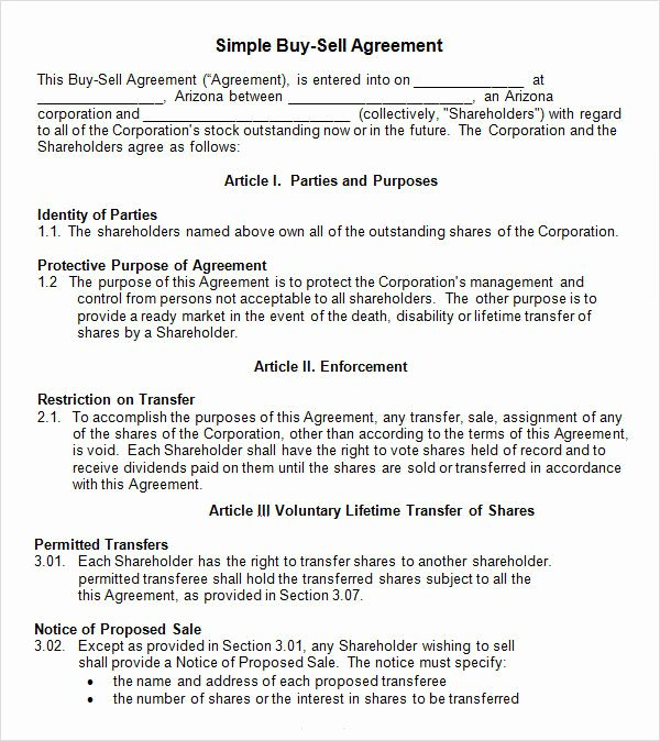 Buy Sell Agreement Llc Template Fresh Buy and Sell Agreement Template Templates Resume