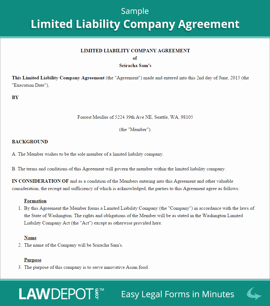 Buy Sell Agreement Llc Template Fresh Llc Operating Agreement Template Us